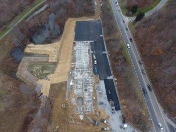 Aerial view of commercial paving
